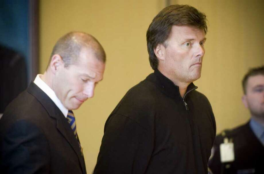 Former Greenwich resident William Lindemann appears with defense attorney Bruce Koffsky during his arraignment in 2009 on manslaughter charges for the death of 78-year-old Herbert Davison. Lindemann was sentenced Friday to one year in prison on a reduced charge of criminally negligent homicide. Photo: File Photo / Stamford Advocate File Photo
