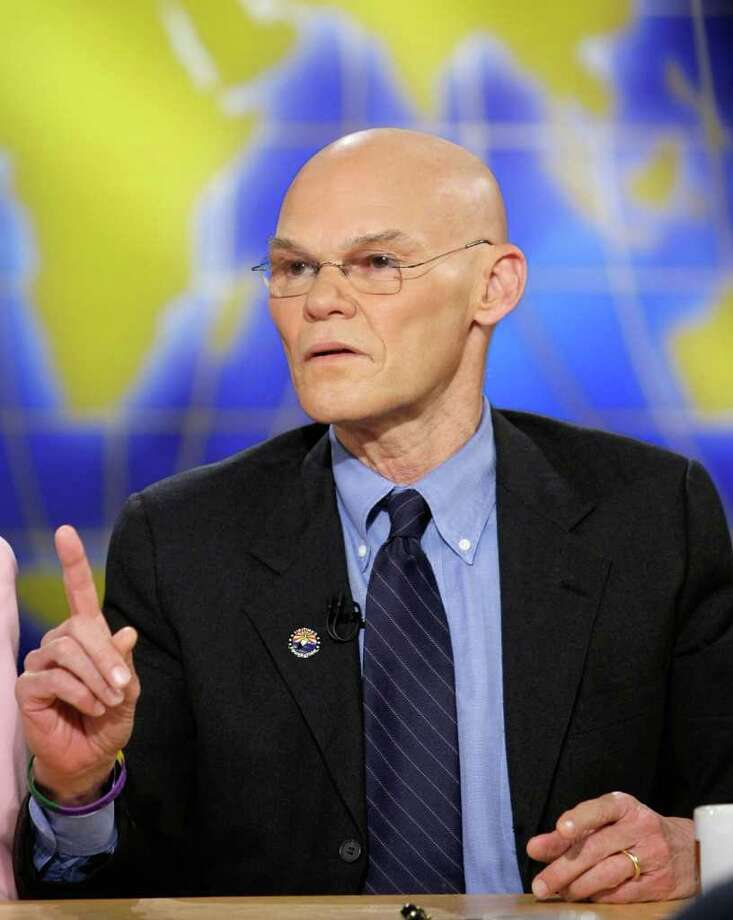 "WASHINGTON - MARCH 02:  (AFP OUT) Democratic strategist James Carville speaks during a taping of ""Meet the Press"" at the NBC studios March 2, 2008 in Washington, DC. Carville discussed topics related to the upcoming primaries in Texas and Ohio.  (Photo by Alex Wong/Getty Images for Meet the Press) Photo: Alex Wong / Getty Images North America"
