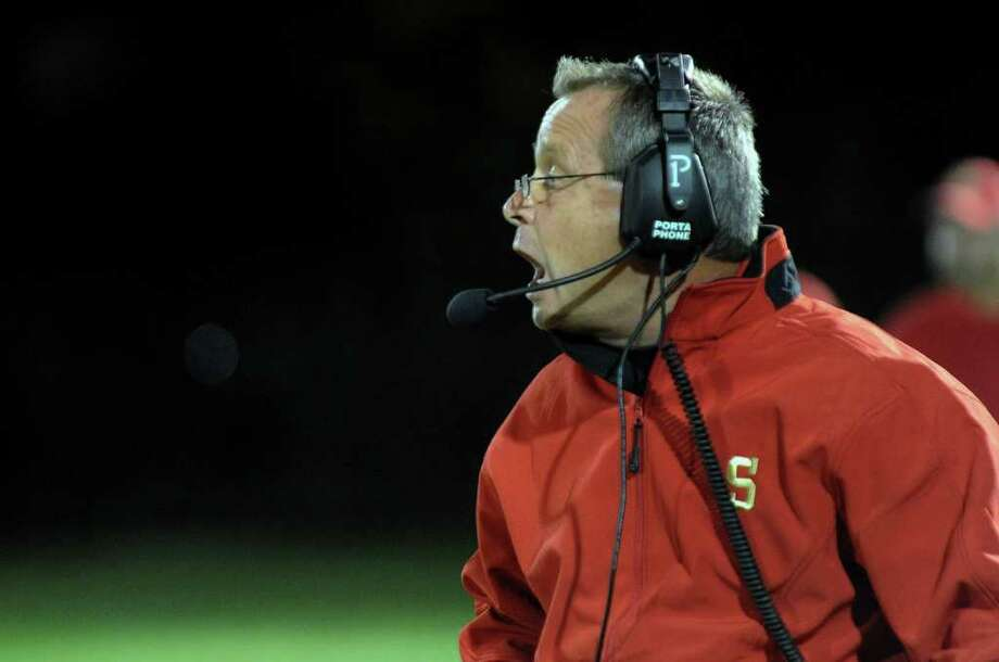 Highlights from boys football action between Stratford and Weston in Stratford, Conn. on Friday September 16, 2011. Stratford Head Coach John Svatik. Photo: Christian Abraham / Connecticut Post