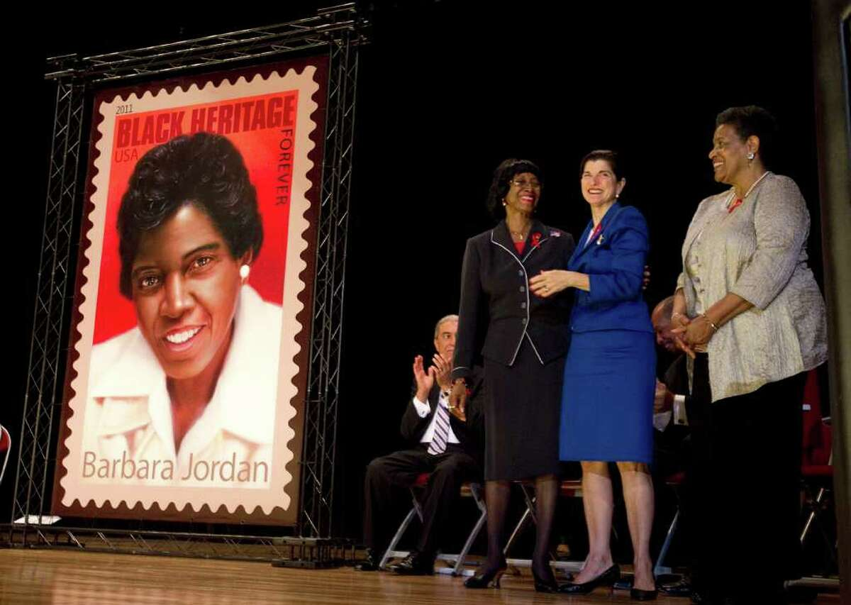 Among those celebrating the stamp are Rose Mary McGowan, sister of Barbara Jordan, left, Luci Baines Johnson, daughter of former President Lyndon Johnson, and Myrlie Evers-Williams, widow of civil rights leader Medgar Evers.