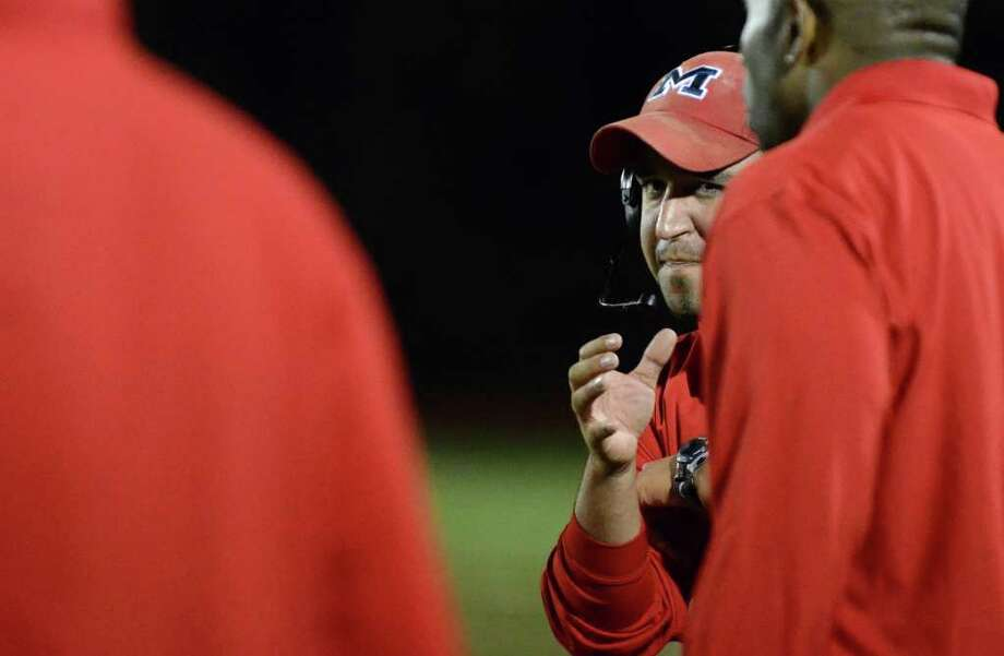 Brien McMahon's head coach AJ Albano during the football game against Fairfield Warde at Fairfield Warde High School on Friday, Sept. 16, 2011. Photo: Amy Mortensen / Connecticut Post Freelance