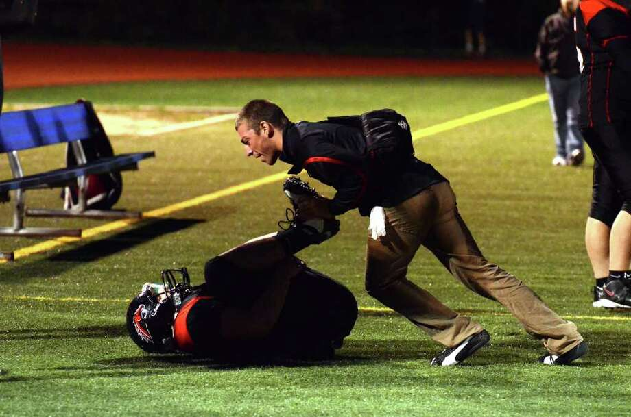 Highlights of the Fairfield Warde vs. Brien McMahon football game at Fairfield Warde High School on Friday, Sept. 16, 2011. Photo: Amy Mortensen / Connecticut Post Freelance