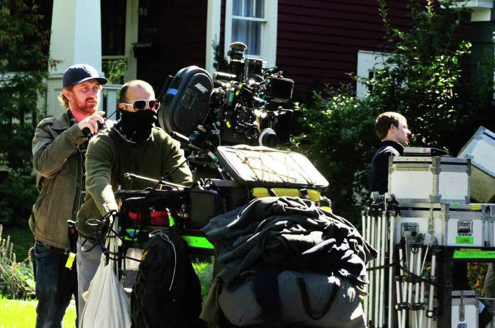 The camera is moved during filming of a scene from