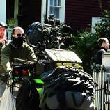 """The camera is moved during filming of a scene from """"The Place Beyond the Pine"""" at a private home on Story Avenue in Niskayuna ,NY Friday Sept.16, 2011. ( Michael P. Farrell/Times Union)"""
