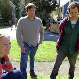"""From left, producers Lynette Howell, Jamie Patricof and Alex Orlovsky at a private home on Story Avenue was used to film a scene from """"The Place Beyond the Pine"""" in Niskayuna ,NY Friday Sept.16, 2011. ( Michael P. Farrell/Times Union)"""