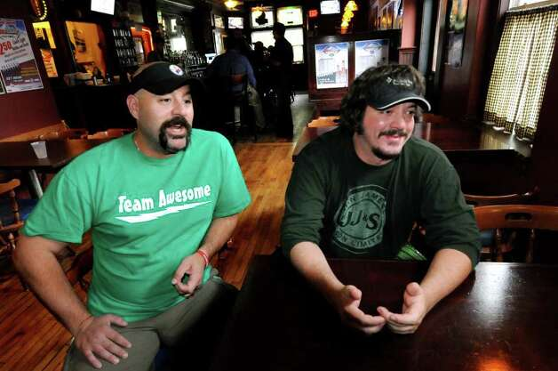 "Bar owner Dave Nigriny, left, and bartender Mike Purdy talk about being extras in the movie ""The Place Beyond the Pines"" on Thursday, Sept. 15, 2011, at 20 North Albany Tavern in Schenectady, N.Y. (Cindy Schultz / Times Union) Photo: Cindy Schultz"