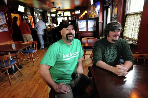"Bar owner Dave Nigriny, left, and bartender Mike Purdy talk about being extras in the movie ""The Place Beyond the Pines"" on Thursday, Sept. 15, 2011, at 20 North Broadway Tavern in Schenectady, N.Y. (Cindy Schultz / Times Union) Photo: Cindy Schultz"