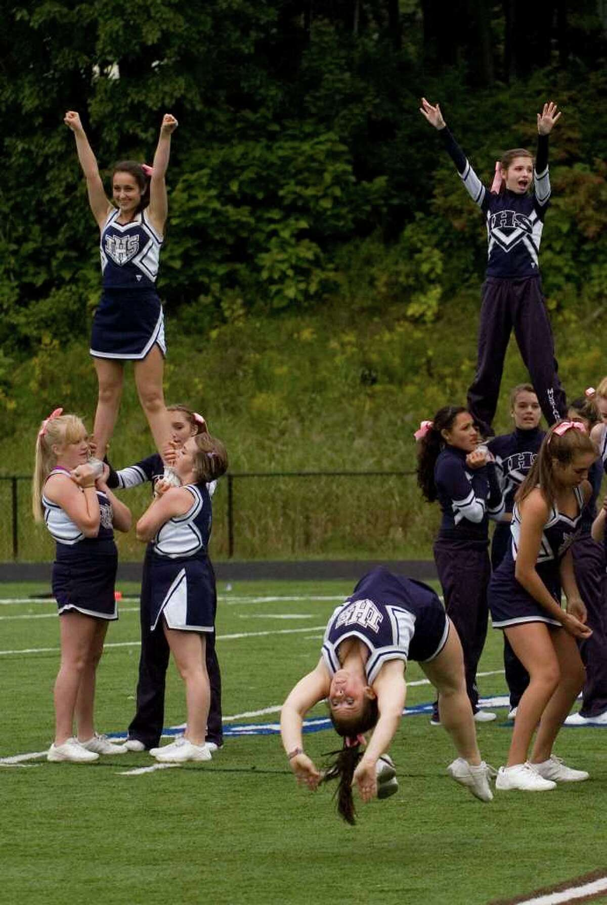 Immaculate cheerleaders try to get the crowd going during their game against Bunnell at Immaculate High School on Saturday, Sept. 17, 2011. Bunnell won 46-21.