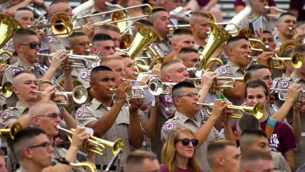 The Texas A&M Fighting Aggie Marching band perform before an NCAA college football game between Texas A&M and Idaho at Kyle Field Saturday, Sept. 17, 2011, in College Station. Photo: Brett Coomer, Houston Chronicle / © 2011 Houston Chronicle