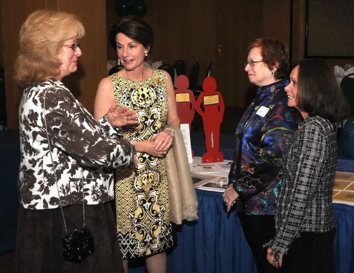 The National Council of Jewish Women (Greater Danbury Section), a grassroots organization of volenteers and advocates, held it's 50th Annual Gala at the Danbury Plaza, in Danbury, CT on Sunday, Sept. 13, 2009. Pictured L to R are, Colombe Gralla of Brookfield, CT, Past Greater Danbury Section President, Nancy Ratzen of Miami, FL, current National President, Leslie Siegel of Brookfield, CT, current Greater Danbury Section President and Phyllis Snyder of Brookfield, CT, past National President, chat before the official program begins.