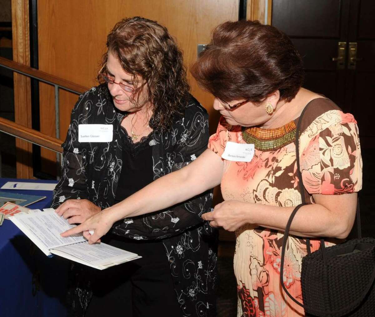 Suellen Glasser. left,and Barbara Fernandes, right, both of Danbury, CT, look at the