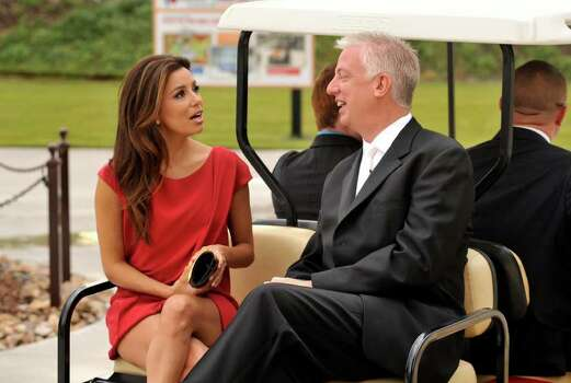 Actress Eva Longoria chats with developer and founder of Morgan's Wonderland, Gordon Hartman, prior to a gala fund raising event at Morgan's Wonderland. Photo: Robin Jerstad/Special To The Express-News