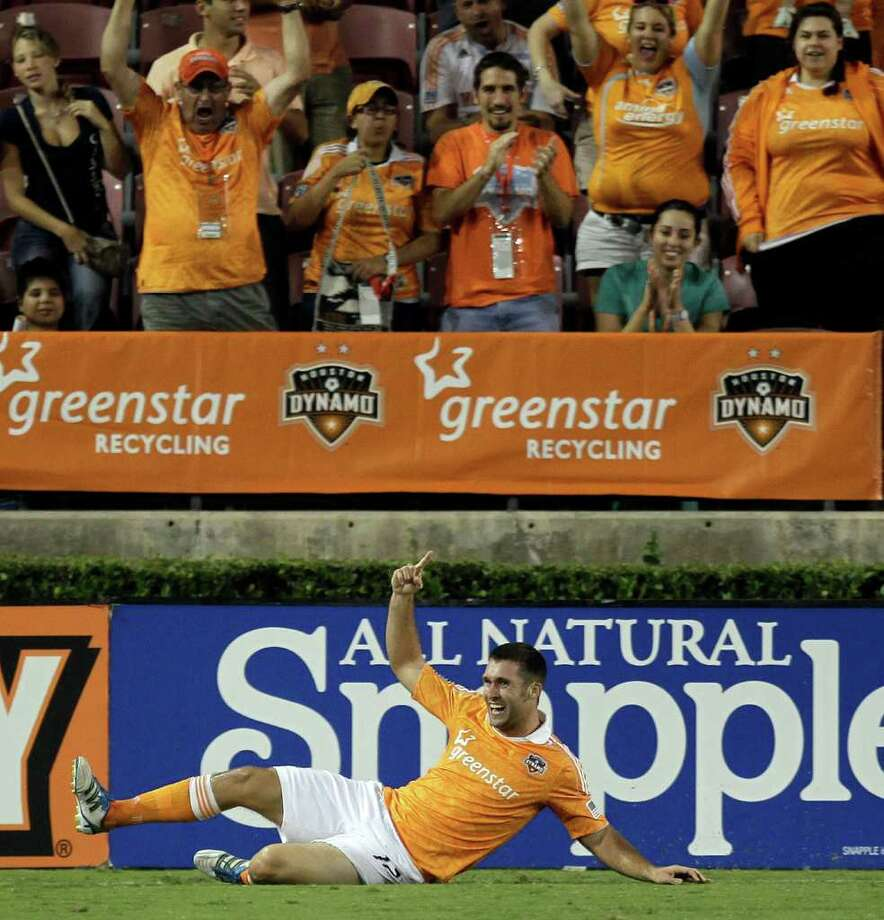 Will Bruin #12 of the Houston Dynamo celebrates after scoring in the 79th minute against the San Jose Earthquakes at Robertson Stadium on September 17, 2011 in Houston, Texas. Houston won 2-1. Photo: Bob Levey, Getty / 2011 Getty Images