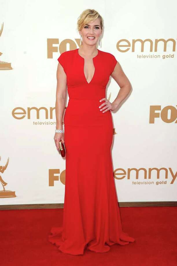 Best: Kate Winslet looked characteristically classy in a more simple take on the red trend.  Photo: Frazer Harrison, Getty Images / 2011 Getty Images