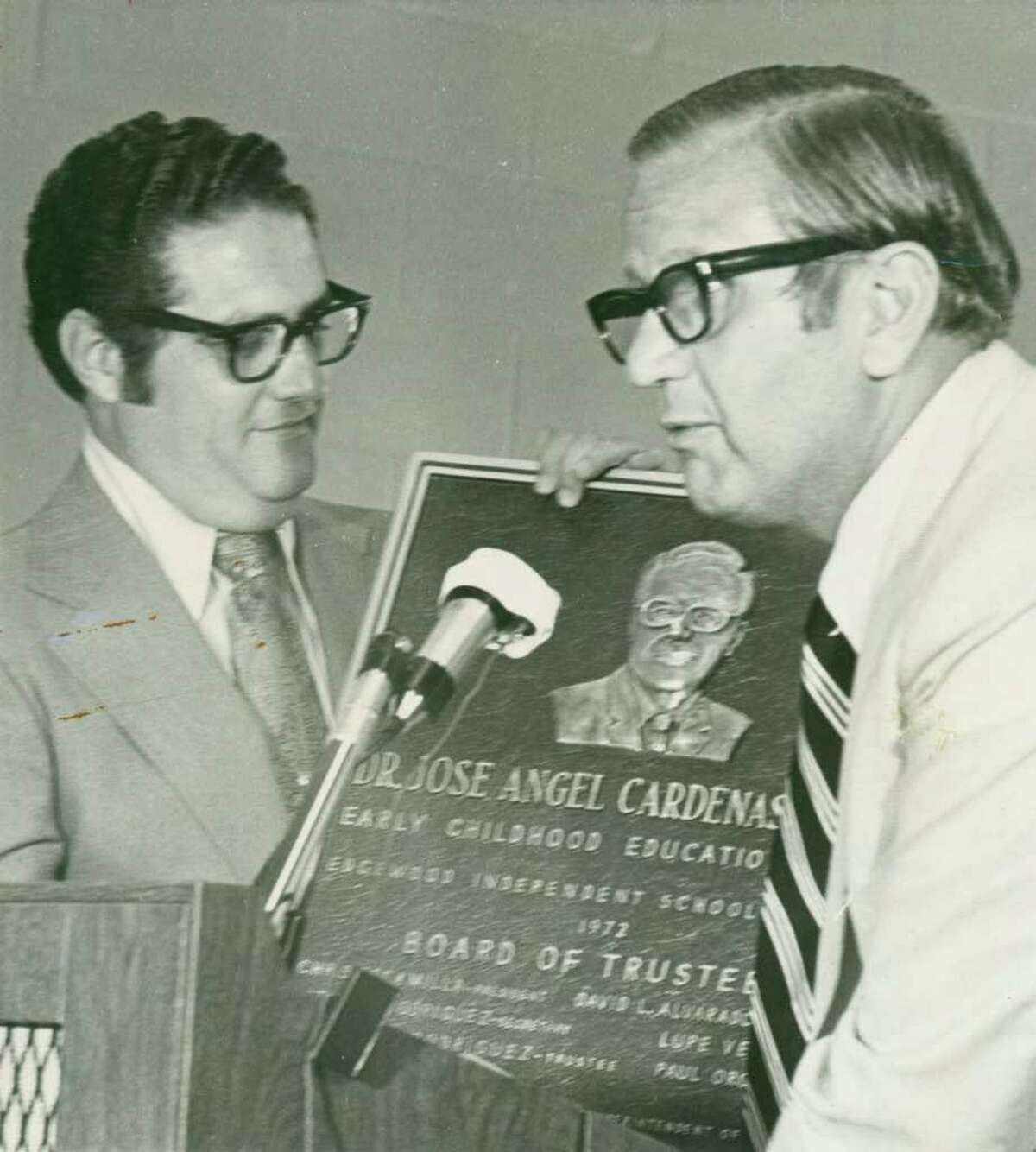 José A. Cárdenas (left) served as an Edgewood Independent School District superintendent, one of his many accomplishments. On the right is John Gatti.