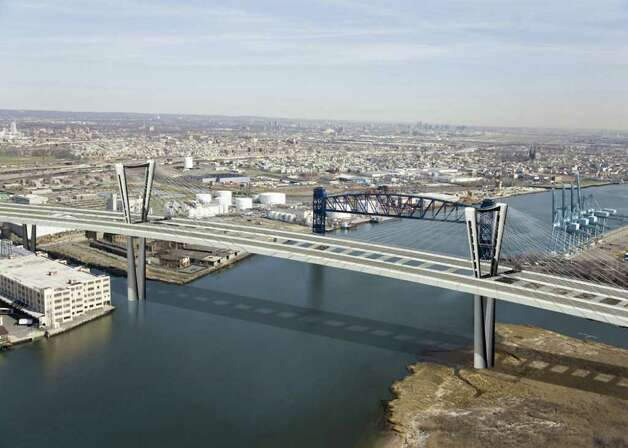 An artist's rendering of a new Goethals Bridge using a cable stay design. Photo: SL / The Star Ledger