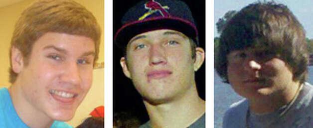 Grey Smith, left, Darrick Brantley, center, and <b>Jacob Bates</b> died Sunday. - 628x471