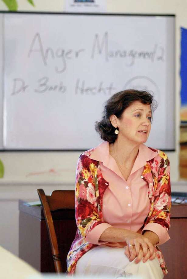 Dr. Barbara Hecht teaches a parenting class on anger management at Saint Joseph Parenting Center (SJPC)  in Stamford, Conn. on Monday September 19, 2011. SJPC offers twenty weeks of free parenting classes. Photo: Dru Nadler / Stamford Advocate Freelance