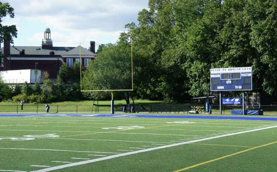 "The Parks and Recreation Department is seeking zoning changes that would permit the use of temporary lighting for Police Athletic League football practices at the Peter ""PJ"" Romano Field on Riverside Avenue. Photo: Paul Schott / Westport News"