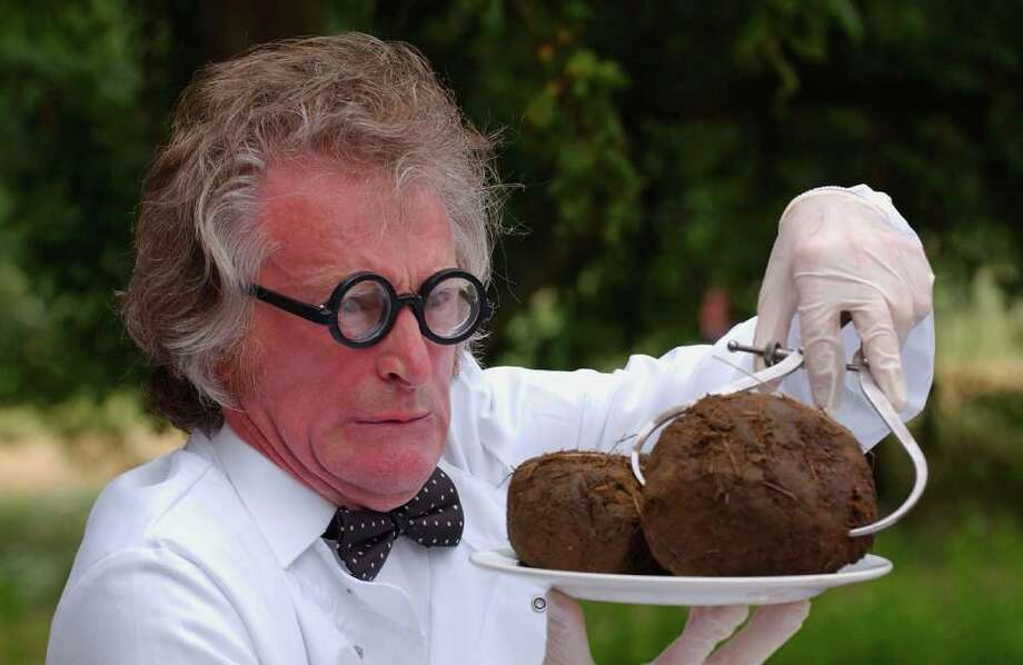 "What a crappy job!Alright, this guy probably loves his job. He's the London Zoo's ""Dr. Poo,"" gathering samples for a Poo Exhibition in 2004 in London. But some of the employees below might gladly trade places with him. Photo: Steve Finn, Getty Images / 2004 Getty Images"