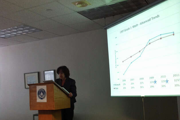 Superintendent Susan Marks shares results of that state's report on the city's District Improvement Plan at a press conference Monday at City Hall. Photo: Contributed Photo