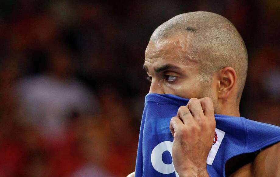 France's Tony Parker reacts  during the EuroBasket 2011, European Basketball Championships  gold  match against Spain  in Kaunas, Lithuania, Sunday, Sept. 18, 2011. Photo: Mindaugas Kulbis/Associated Press / AP