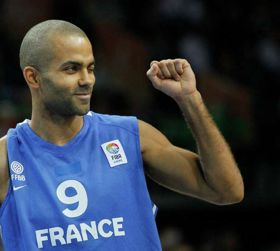 France's Tony Parker reacts during their EuroBasket European Basketball Championship gold medal match against Spain, in Kaunas, Lithuania, Sunday Sept. 18, 2011. Photo: Darko Vojinovic/Associated Press / AP