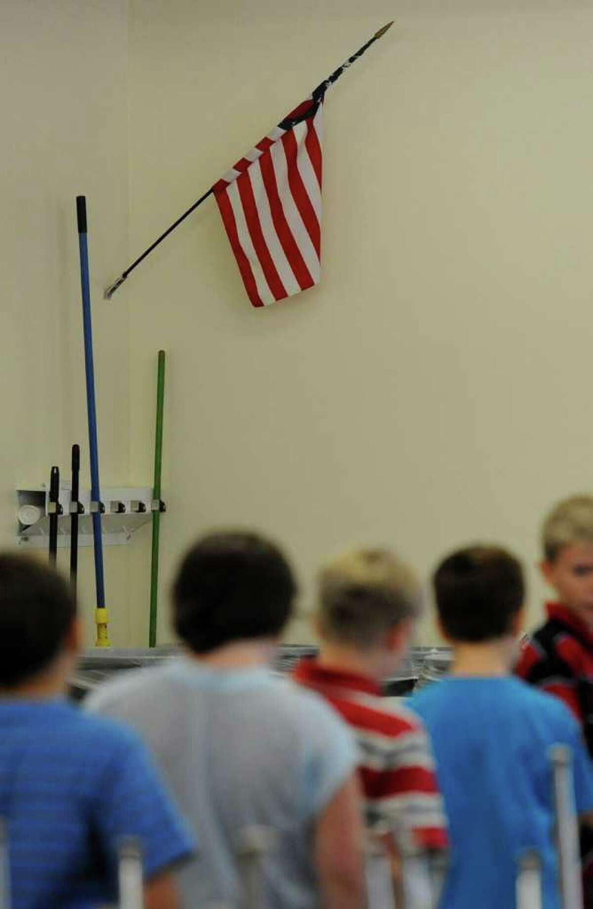 An American flag is present in the cafeteria at the Gilboa Conesville Central Schools building in Gilboa, N.Y. (Skip Dickstein / Times Union)