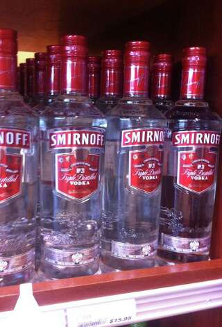 No. 9: Smirnoff 80 proof vodka is another popular liquor for well drinks. It has consistently been a top seller in Seattle, and the 1.75 liter size was the ninth bestseller statewide last year, according to liquor store data. Photo: Casey McNerthney/seattlepi.com