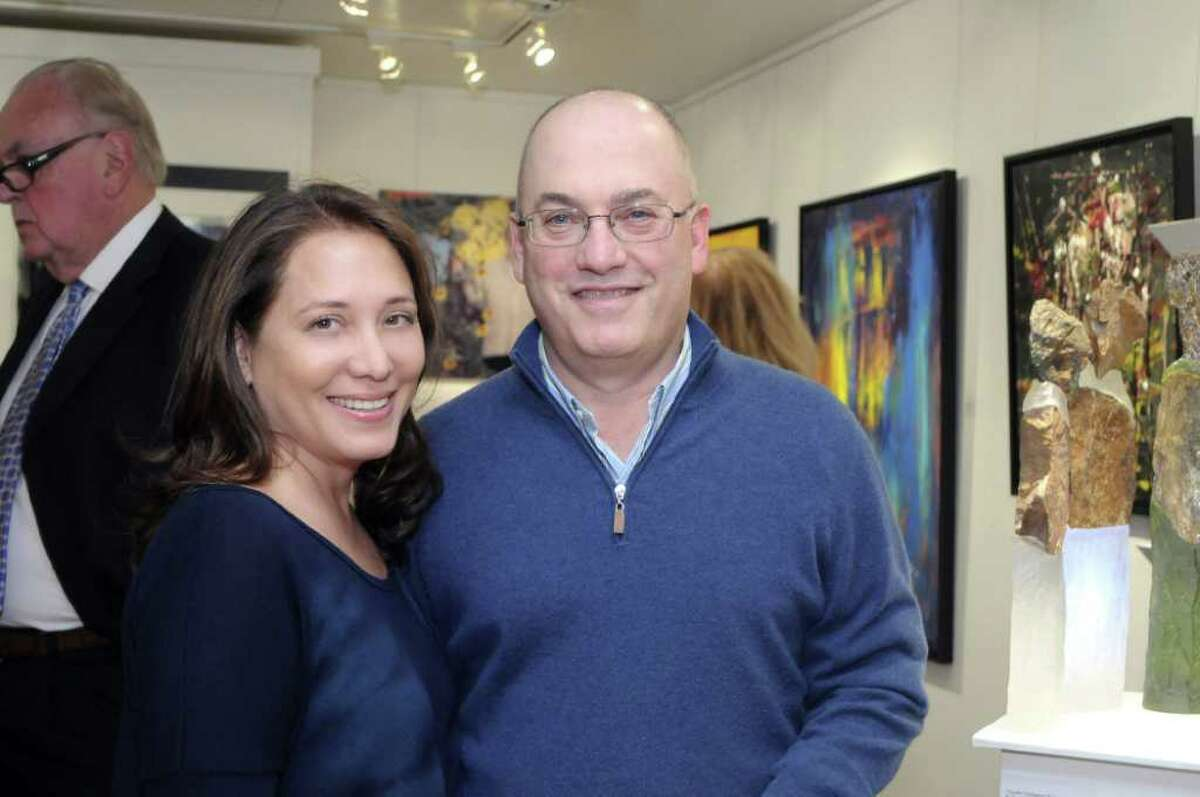 The Art Greenwich fair collects a wide range of pieces from artists practicing in all kinds of styles and mediums. The fair, which is hosted on a megayacht in Delamar Harbor hosted a preview Sept. 15 for local notables. Here, Steve Cohen poses with his wife Alexandra. Credit: Bob Capazzo Photography.