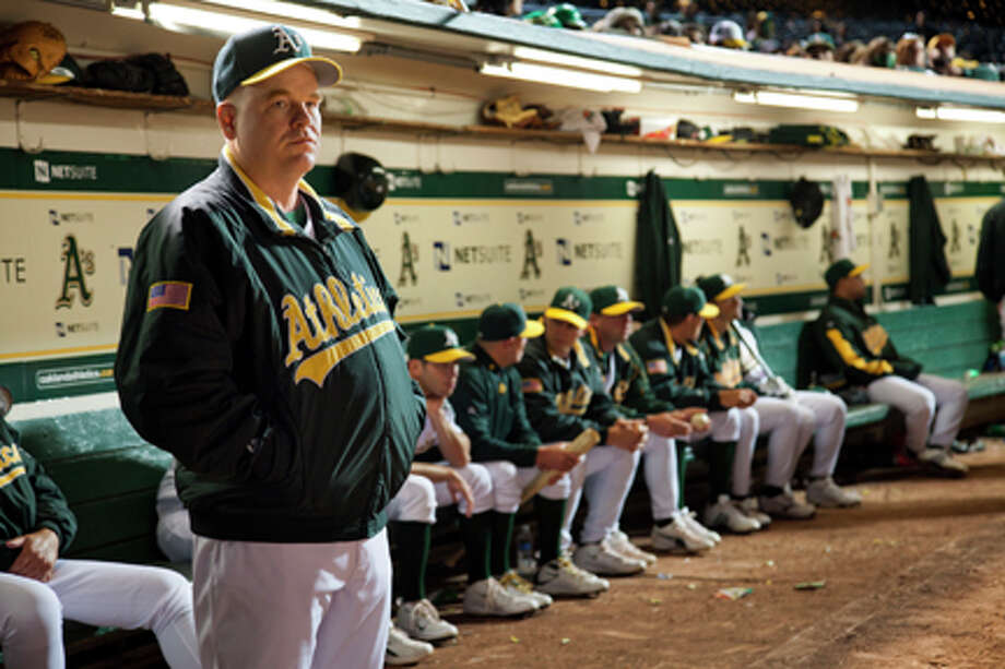"Philip Seymour Hoffman as Art Howe in ""Moneyball."""