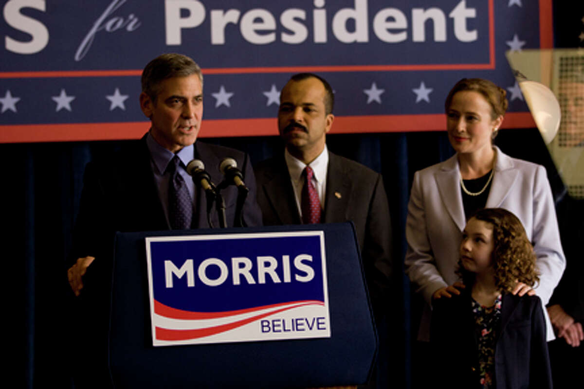 (L-R) George Clooney as Governer Mike Morris, Jeffrey Wright, Jennifer Ehle as Mrs. Morris and Talia Akiva as Beth Morris in