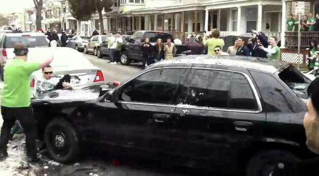 Screen grab from YouTube video showing St. Patrick's Day riot in Albany, Saturday March 12 2011. (YouTube video)