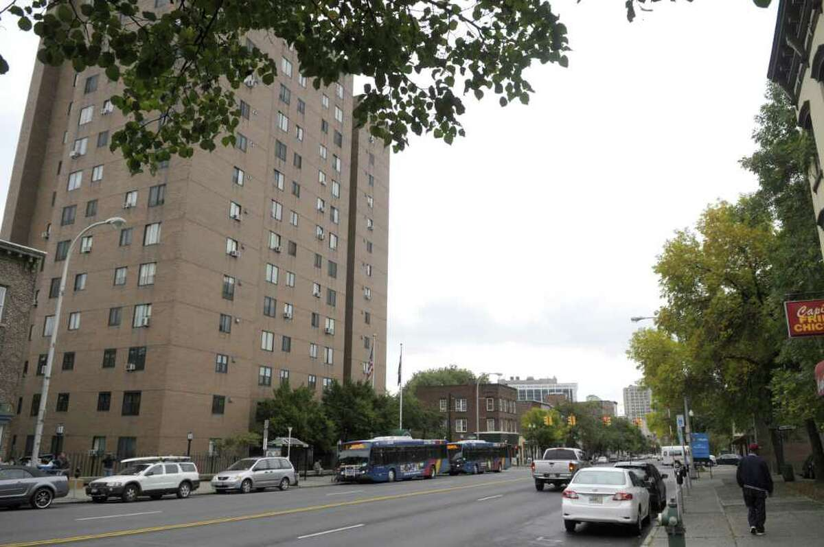 A view looking east along Central Avenue shows the Townsend Park Homes high-rise apartments on Tuesday, Sept. 20, 2011 in Albany. (Paul Buckowski / Times Union)