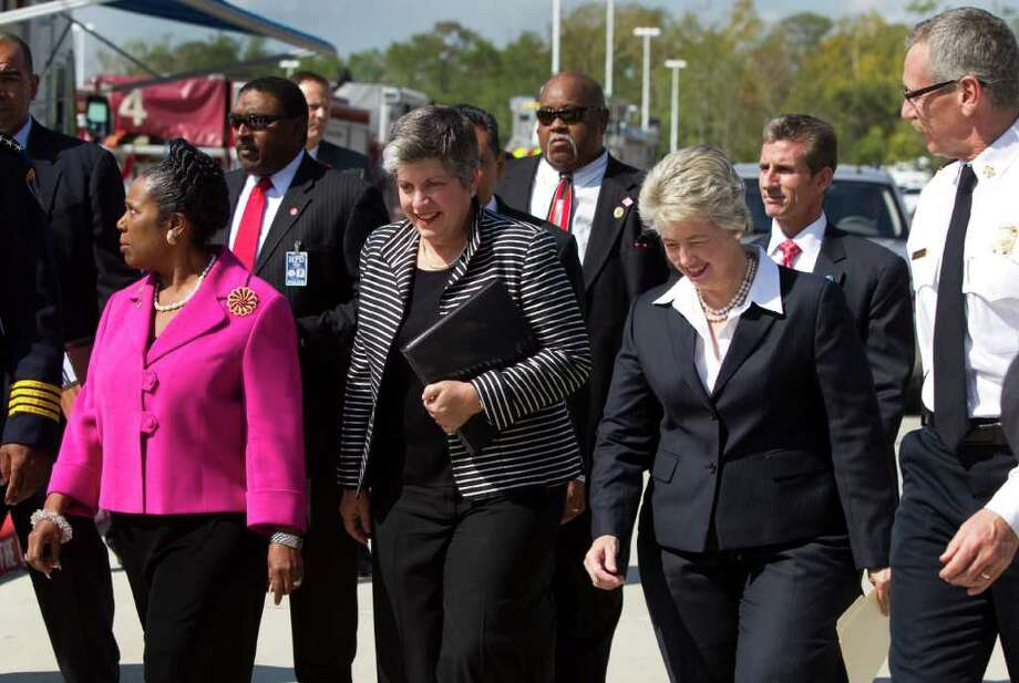 """Brett Coomer : Houston Chronicle U.S. REP.: Sheila Jackson Lee, left, Secretary of Homeland Security Janet Napolitano and Houston Mayor Annise Parker arrive Tuesday at Lone Star College to announce the """"If You See Something, Say Something"""" campaign. Photo: Brett Coomer / © 2011 Houston Chronicle"""