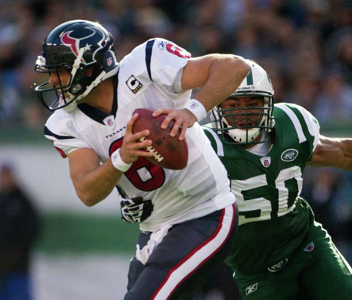 Defensive end Vernon Gholston (50) played three seasons with the Jets before being released in March. He signed with the Bears in July and was released in August.