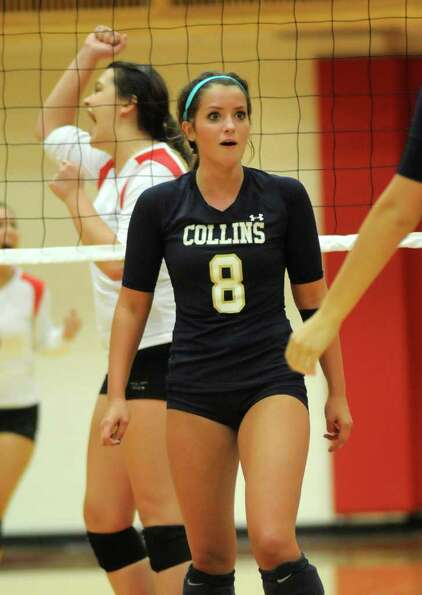 Klein Collins senior setter Amy South shows her surprise at a Tomball point. (Jerry Baker/For the Ch