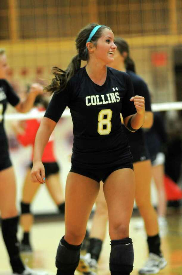 Amy South, who played her setter role well Tuesday, celebrates a point for Klein Collins. Photo: Jerry Baker