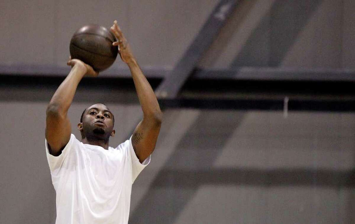 James Anderson warms up prior to an Impact Basketball game on Wednesday, Sept. 14, 2011, in Las Vegas.