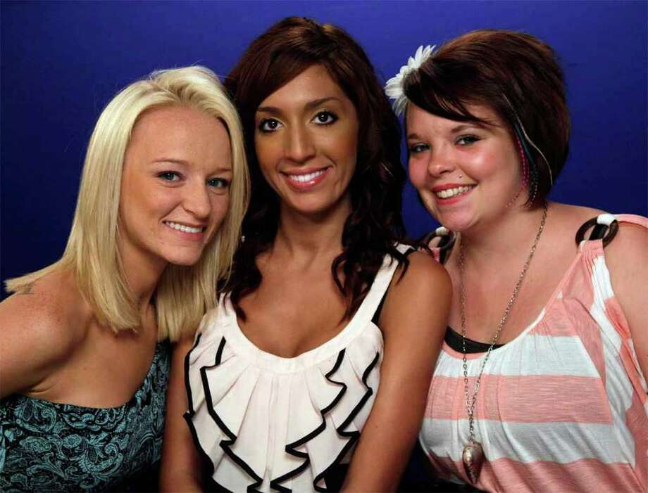 "Maci Bookout, left, Farrah Abrahams, center, and Catelynn Lowell of MTV's ""Teen Mom,"" pose for photos in New York, Monday, June 27, 2011. The MTV's stars of the family reality series juggle raising toddlers with tabloid attention. Photo: AP"