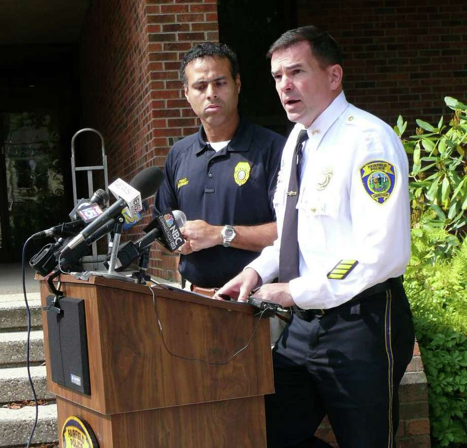 Lt. James Perez, left and Chief Gary MacNamara answer questions Wednesday about a home invasion Tuesday night on Park Avenue that left an elderly couple with minor injuries. Photo: Genevieve Reilly / Fairfield Citizen