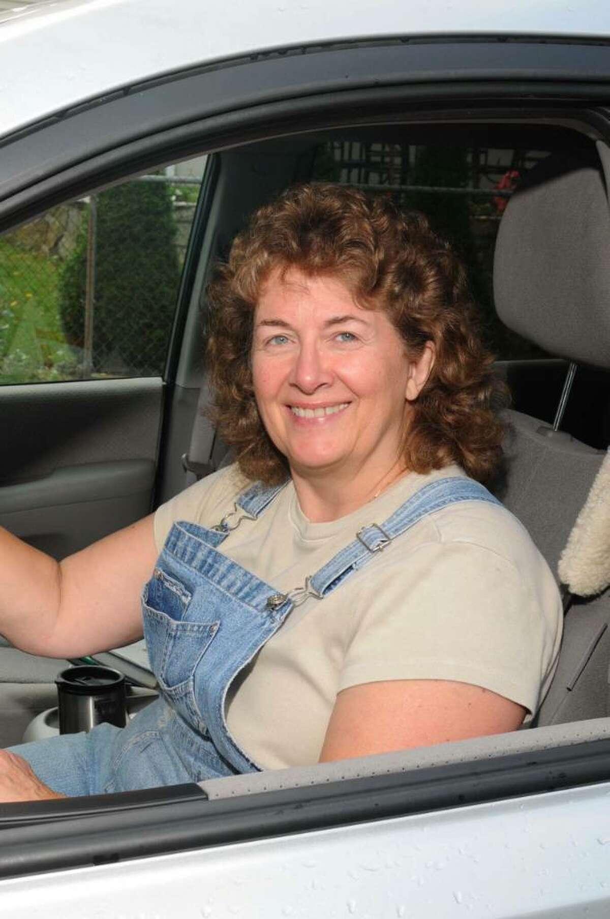 Nancy Weston of Danbury, CT in her van on Tuesday, Oct. 13, 2009.