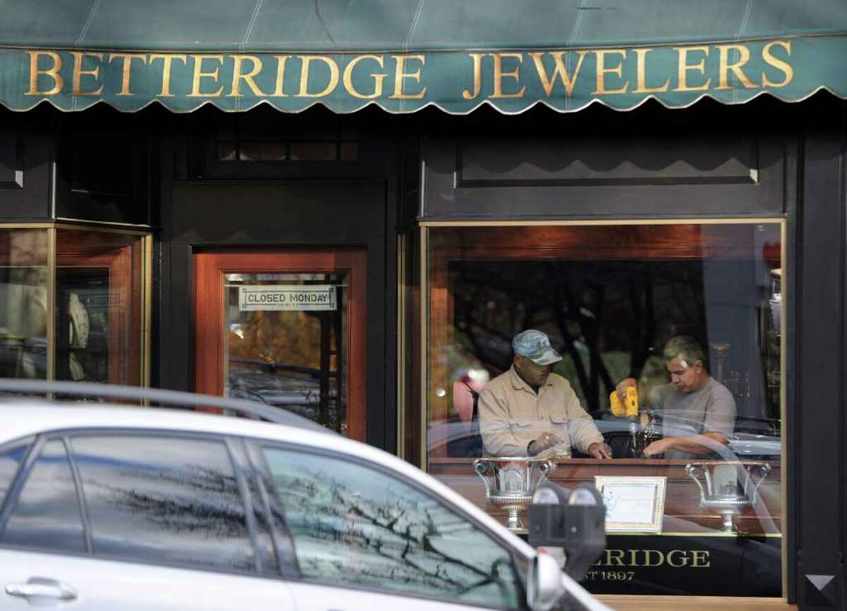 Two men are accused of using fraudulent credit cards to attempt to purchase Rolex watches at Betteridge Jewelers on Greenwich Avenue, shown here in 2010.