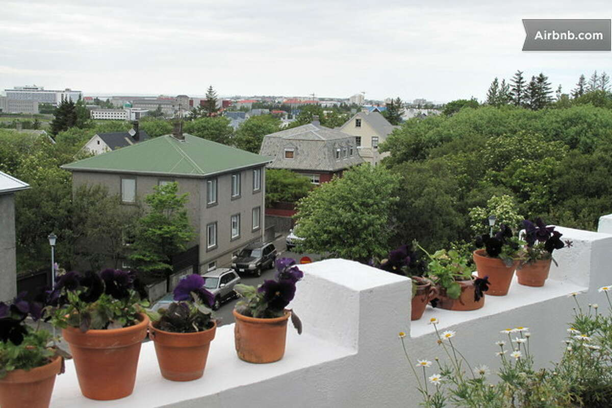View from a 1,292-square-foot penthouse in Reykjavík, Iceland, available to rent for $5,883 a month.