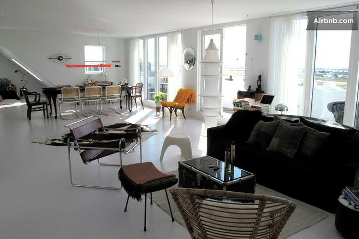 This 1,292-square-foot penthouse in Reykjavík, Iceland, is available for $5,883 a month. The place provides great views of downtown, including one of the city's most famous churches, Hallgrímskirkja.