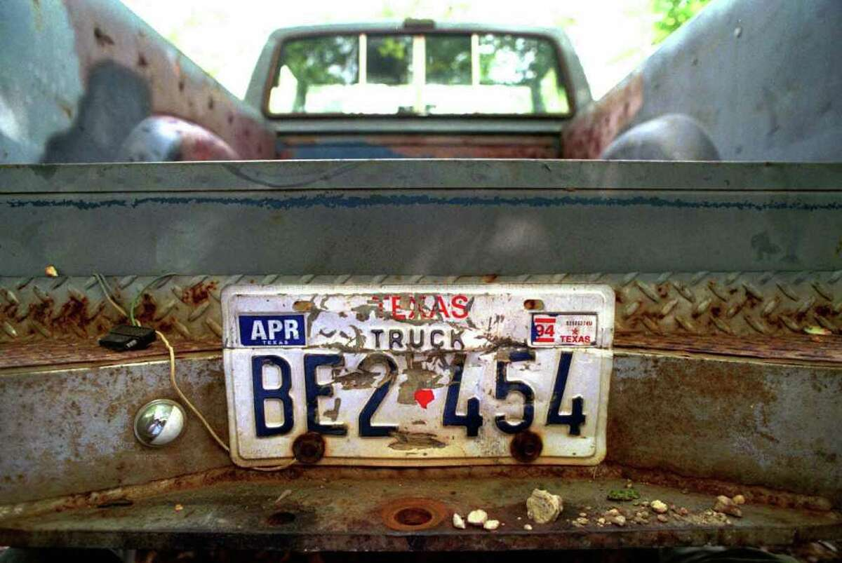 FILE - In a Thursday, June 11, 1998 file photo, the rear of the 1982 pickup truck owned by Shawn Allen Berry, 23, of Jasper, Texas, is shown. The ball of the hitch has been removed by the FBI in their investigation into the death of James Byrd Jr. Lawrence Russell Brewer, 44, one of two purported white supremacists condemned for Byrd?s death, is set for execution Wednesday for participating in chaining Byrd to the back of a pickup truck, dragging the black man along the road and dumping what was left of his shredded body outside a black church and cemetery. Lawrence Russell Brewer, 44, one of two purported white supremacists condemned for Byrd?s death, is set for execution Wednesday, Sept. 21, 2011 for participating in chaining Byrd to the back of a pickup truck, dragging the black man along the road and dumping what was left of his shredded body outside a black church and cemetery. John William King, 36, also was convicted of capital murder and sent to death row. His case remains under appeal. Berry, 36, received a life prison term. (AP Photo/The Beaumont Enterprise, Ron Jaap, File)