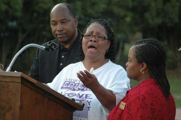 Betty Boatner, sister of the late James Byrd Jr., asks a crowd Wednesday night in Jasper to 'seek peace and love' during a remembrance gathering for her brother. The group met in the same hour that one of Byrd's killers, Lawrence Russell Brewer, was put to death.   Jimmy Galvan/Jasper Newsboy Photo: Jimmy Galvan