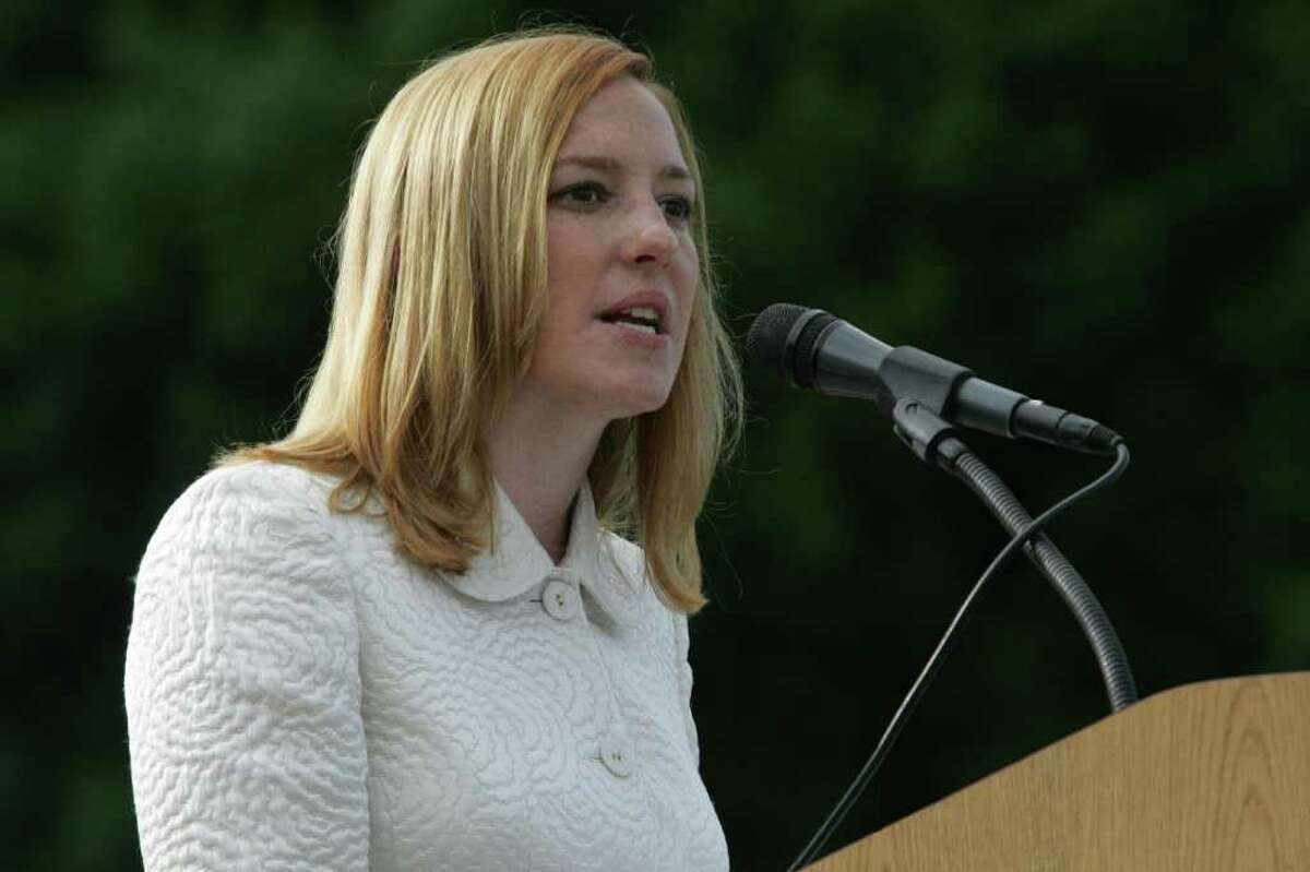 Jennifer Psaki, Deputy Press Secretary and Special Assistant for President Obama and a 1996 graduate of Greenwich High School, delivers the high school's commencement address in June 2009.