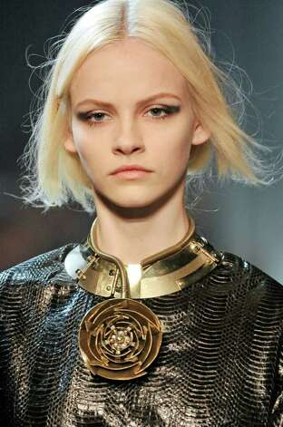 Lanvin's bold gold necklace from it's Ready to wear fall winter 2011-12 collection. Trend: bold gold. Photo: Xxxxxxxxxxxxxxxxxxx, Lanvin / xxxxxxxxxxxxxxxxxxxxxxxx