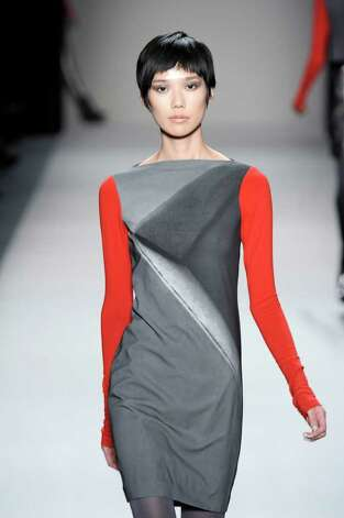 Nicole Miller color blocking from her Ready to Wear Fall Winter 2011-12 collection in New York. Trend: color blocking. Photo: Nicole Miller